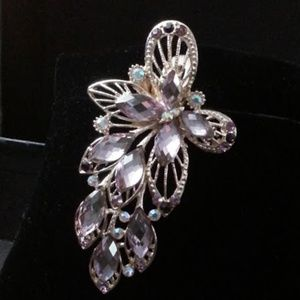 "Accessories - Purple & AB rhinestone butterfly 4"" hair clip NWOT"